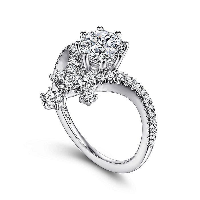 14K White Gold Round V Shape Diamond Engagement Ring