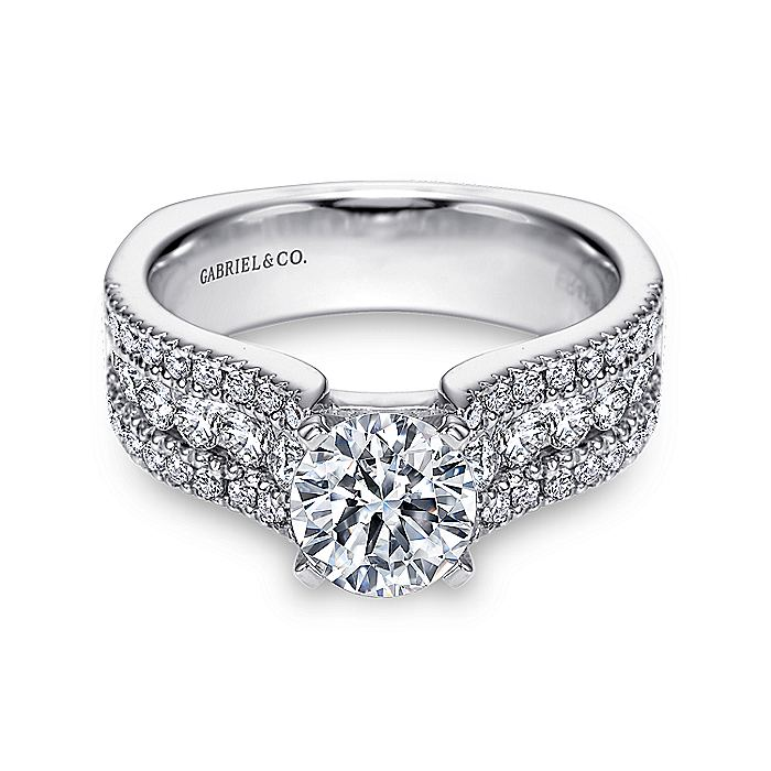 14K White Gold Round Wide Band Diamond Engagement Ring