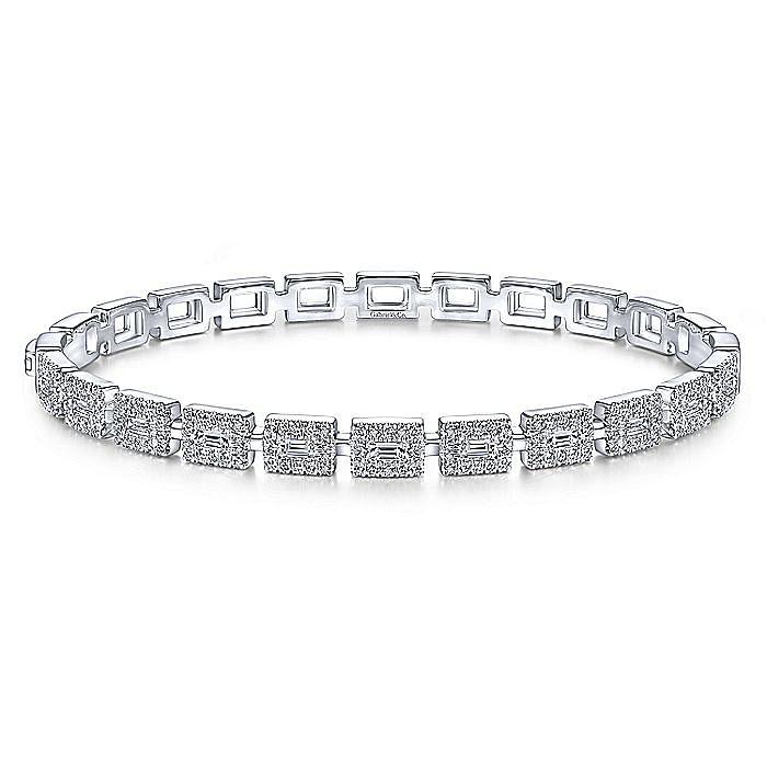 14K White Gold Round and Baguette Diamond Bangle Bracelet
