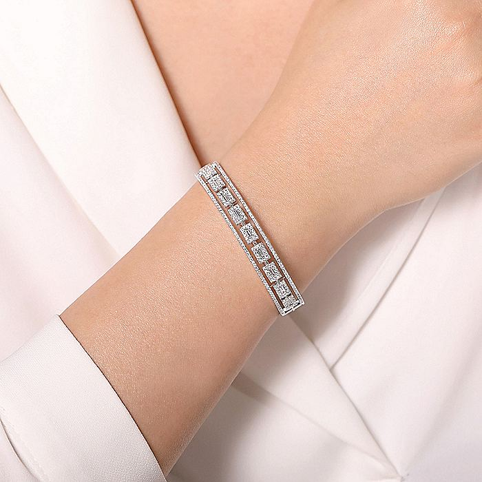 14K White Gold Round and Baguette Diamond Cuff Bracelet