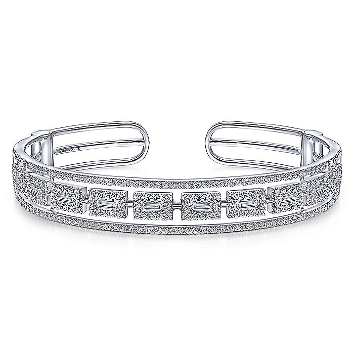 14K White Gold Round and Baguette Diamond Cuff Bracelet