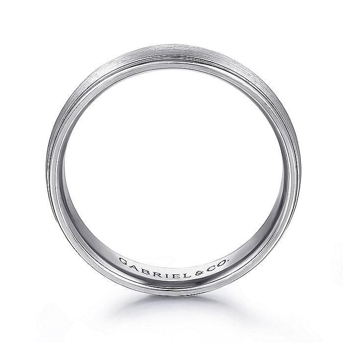 14K White Gold Rounded Satin Polished Edge Men's Wedding Ring