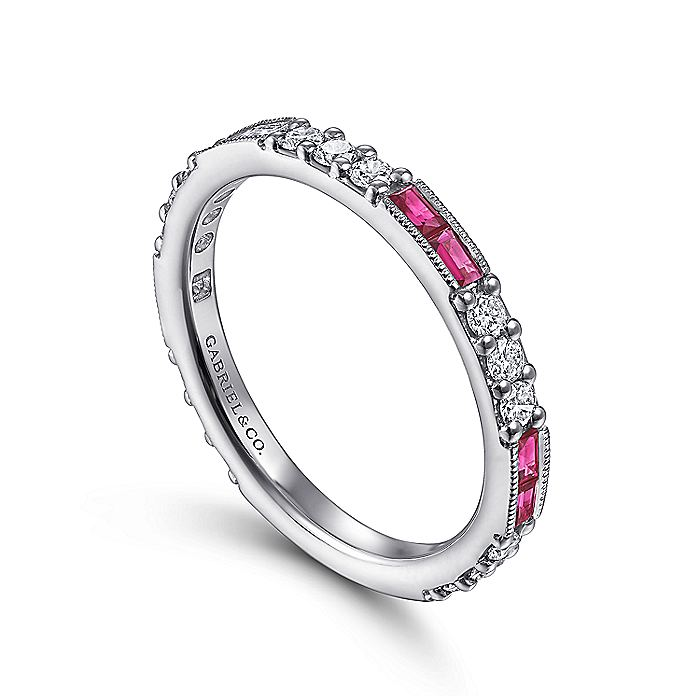 14K White Gold Ruby Baguette and Diamond Stackable Ring