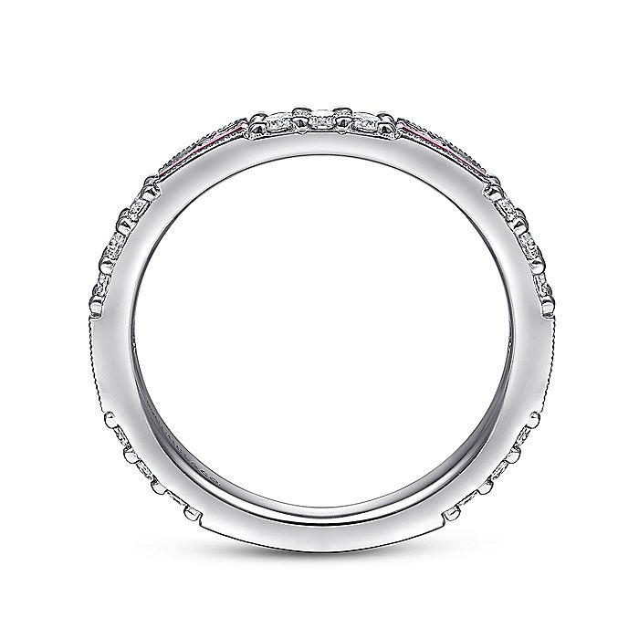 14K White Gold Ruby Baguette and Diamond Stackable
