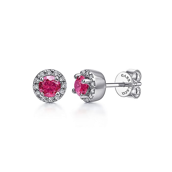 14K White Gold Ruby and Diamond Halo Stud Earrings