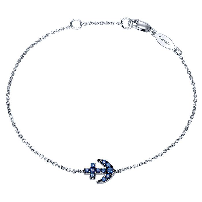 14K White Gold Sapphire Anchor Chain Bracelet