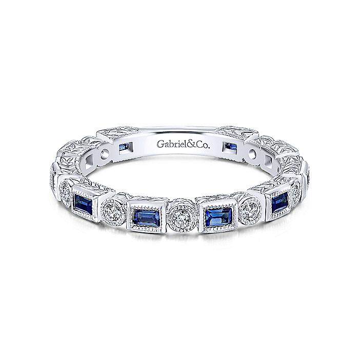 14K White Gold Sapphire Baguette and Diamond Round Eternity Ring