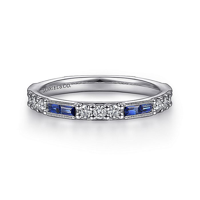 14K White Gold Sapphire Baguette and Diamond Stackable Ring
