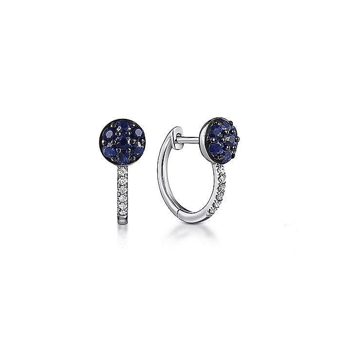 14K White Gold Sapphire Cluster and 10mm Diamond Huggie Earrings