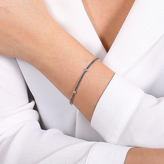 14K White Gold Sapphire Tennis Bracelet with Round Diamond Stations