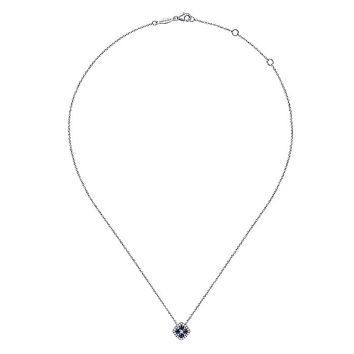 14K White Gold Sapphire and Diamond Halo Floral Pendant Necklace