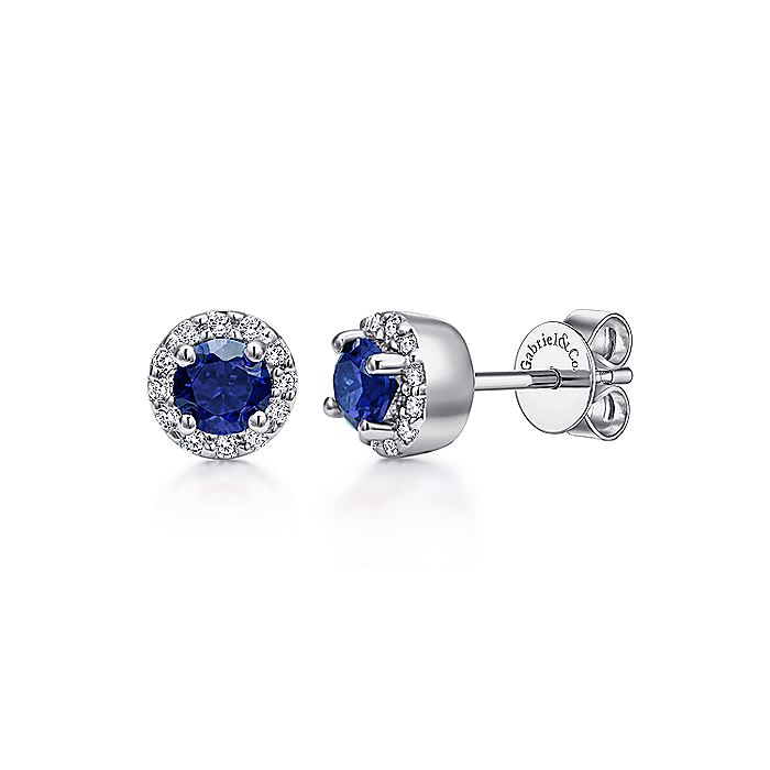 14K White Gold Sapphire and Diamond Halo Stud Earrings