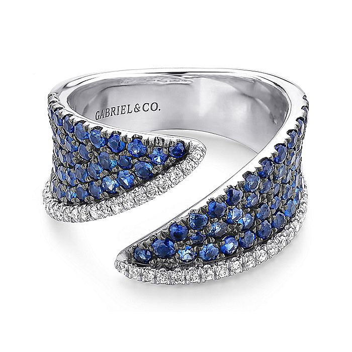 14K White Gold Sapphire and Diamond Pavé Open Ring