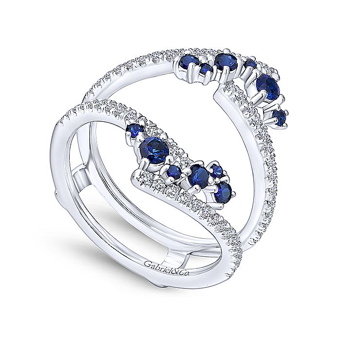 14K White Gold Sapphire and Diamond Ring Enhancer