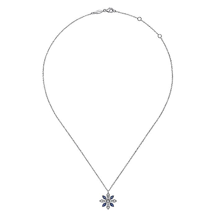 14K White Gold Sapphire and Diamond Snowflake Pendant Necklace