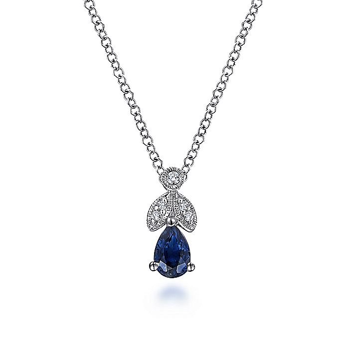 14K White Gold Sapphire and Diamond Teardrop Pendant Necklace