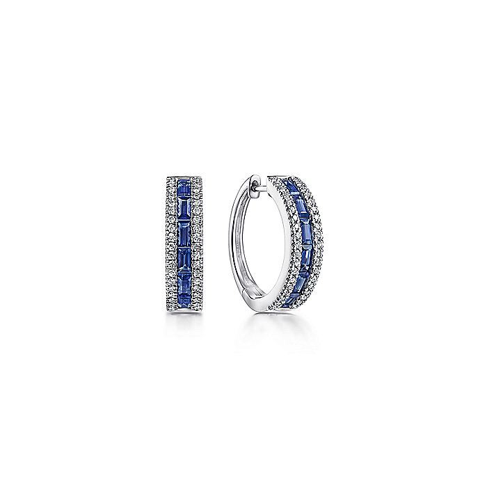 14K White Gold Sapphire pave 15mm Diamond Huggie Hoop Earrings