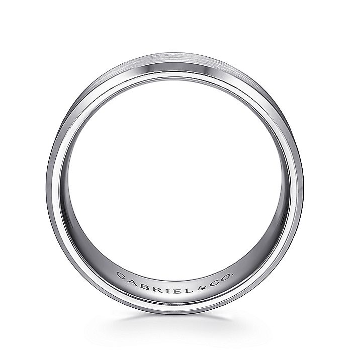 14K White Gold Satin Beveled Edge Men's Wedding Ring