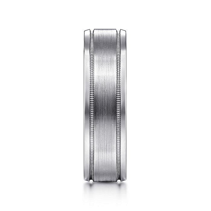 14K White Gold Satin Polished Milgrain Edge Men's Wedding Ring