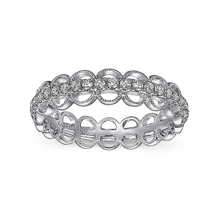 14K White Gold Scalloped Diamond Band Ring
