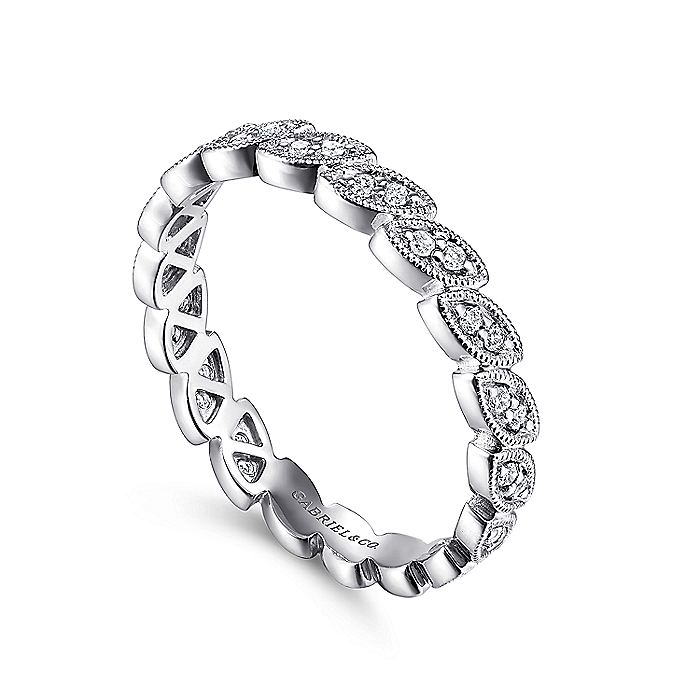 14K White Gold Scalloped Marquise Stackable Diamond Ring