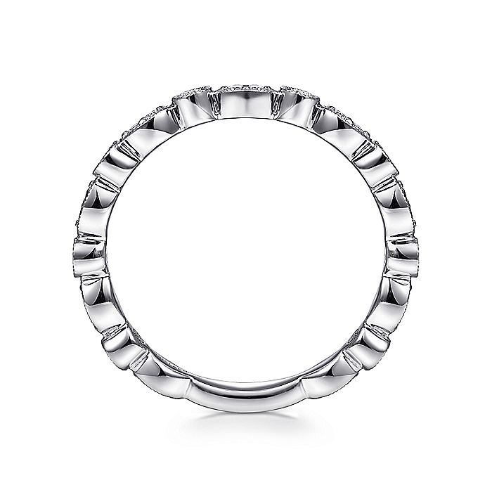 14K White Gold Scalloped Round and Marquise Diamond Stackable Ring