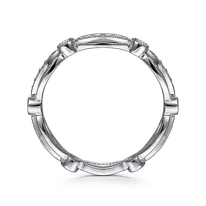 14K White Gold Scalloped Stackable Diamond Ring