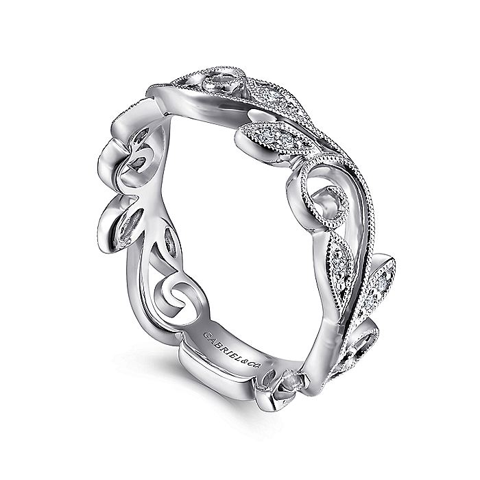 14K White Gold Scrolling Floral Diamond Ring