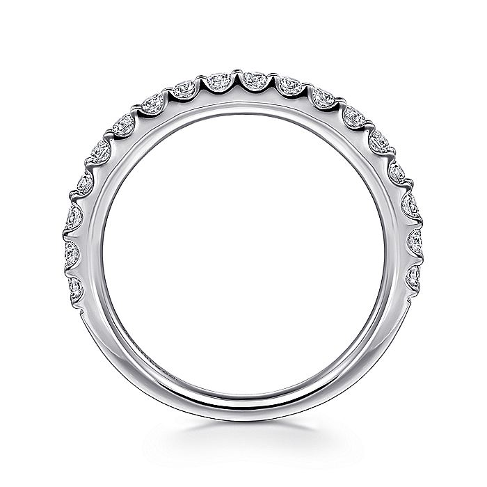 14K White Gold Shared Prong Diamond Wedding Band