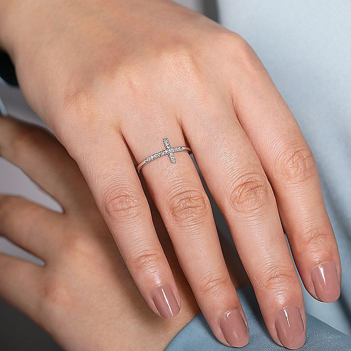 14K White Gold Sideways Cross Diamond Ring