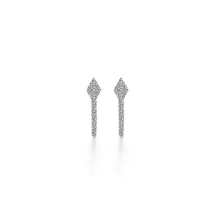14K White Gold Small Oval Diamond Huggie Earrings