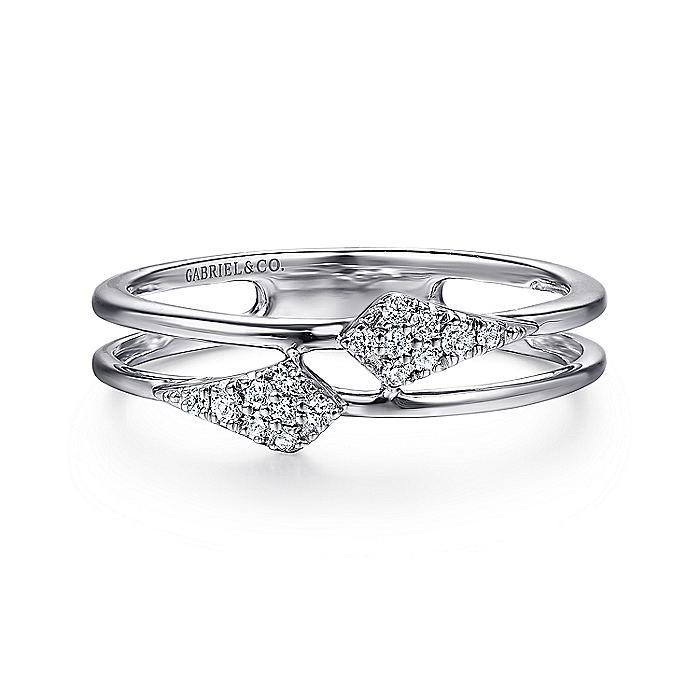 14K White Gold Spiked Diamond Stackable Ring