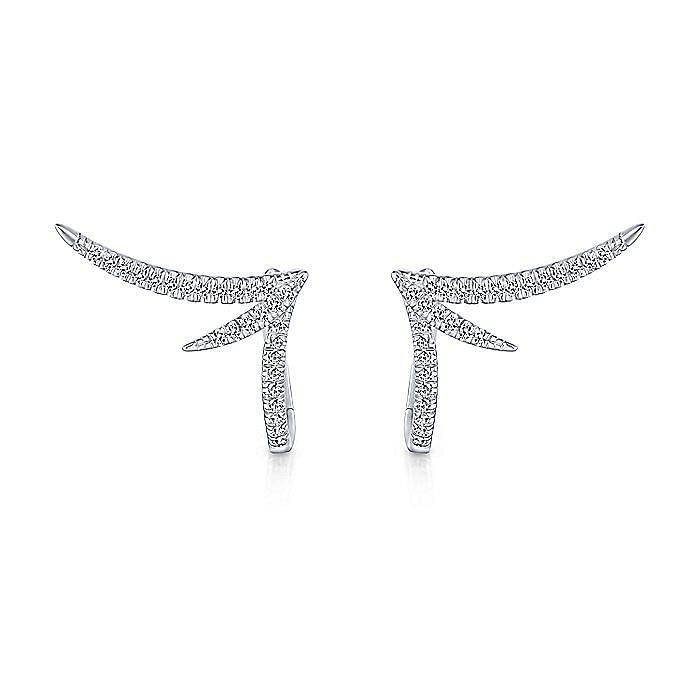 14K White Gold Split 20mm Diamond Huggie Earrings