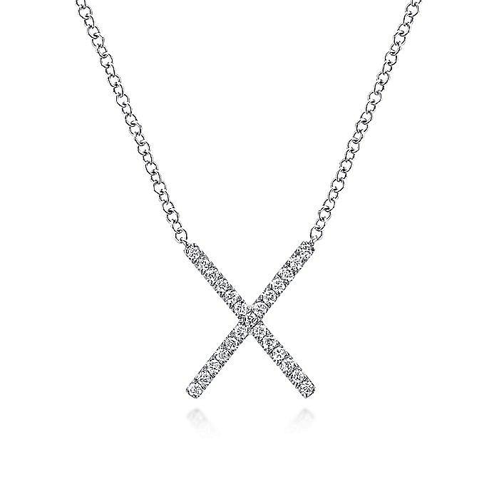 14K White Gold Split Chain Diamond X Necklace