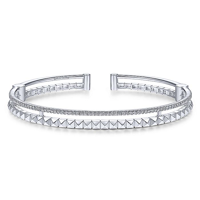 14K White Gold Split Cuff with Pyramids and Diamonds