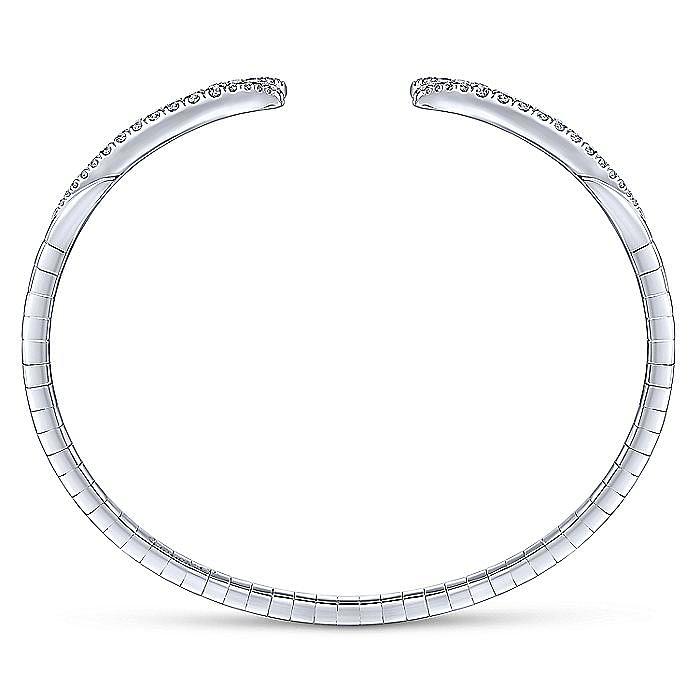 14K White Gold Split Diamond Bangle