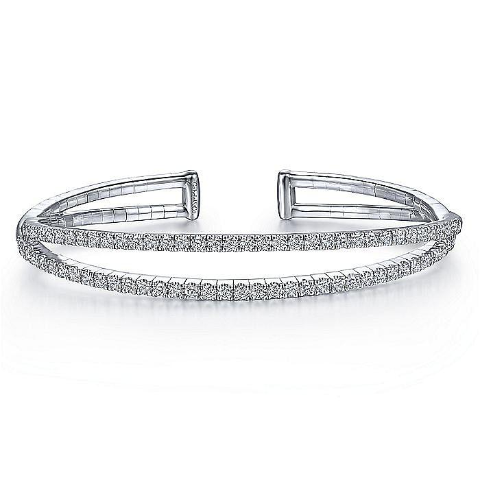 14K White Gold Split Diamond Cuff