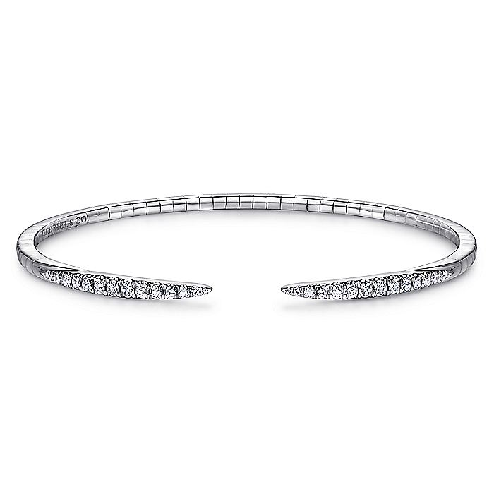14K White Gold Split Diamond Spike Bangle