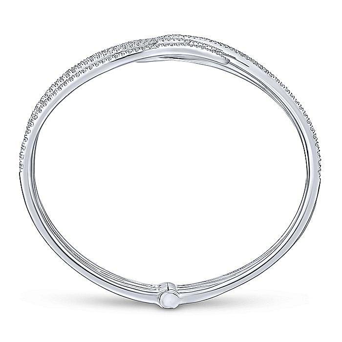 14K White Gold Split Multi Row Diamond Bangle