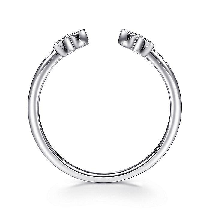 14K White Gold Split Ring with Bezel Set Triple Diamond Clusters