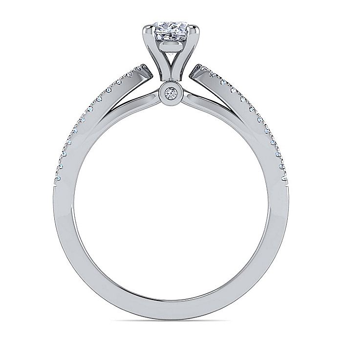 14K White Gold Split Shank Oval Diamond Engagement Ring