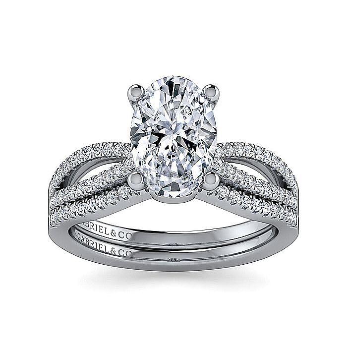14K White Gold Split Shank Oval Diamond Engagement Ring