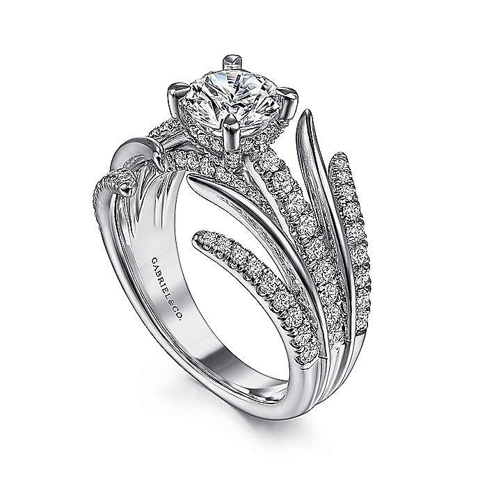 14K White Gold Split Shank Round Diamond Engagement Ring