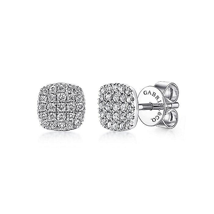 14K White Gold Square Pavé Diamond Stud Earrings