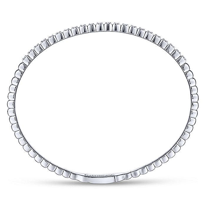14K White Gold Square Set Diamond Bangle