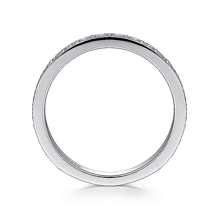 14K White Gold Square Set Round Diamond Ring Band