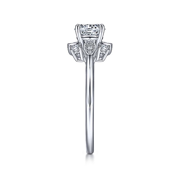 14K White Gold Starburst Halo Round Diamond Engagement Ring