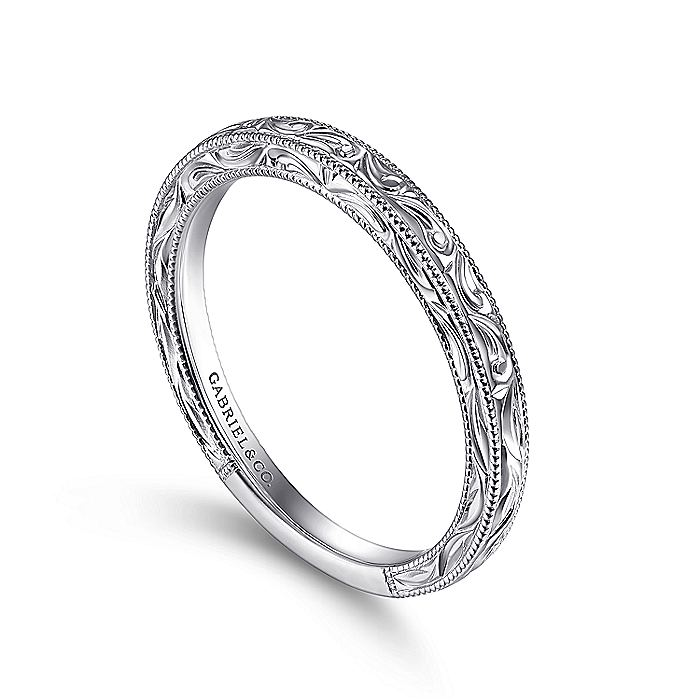 14K White Gold Swirl Engraved Stackable Ring