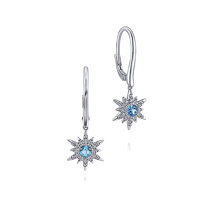 14K White Gold Swiss Blue Topaz Star Drop Earrings