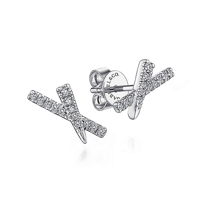 14K White Gold Tapered X Diamond Stud Earrings